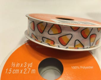 3 yards of white with Candy Corn ribbon, 5/8 inches wide (A3)