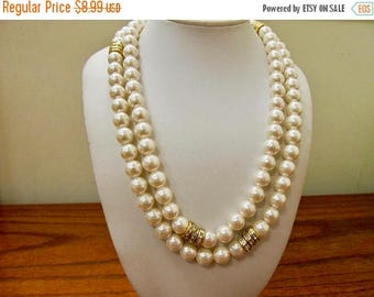 ON SALE Vintage Long Faux Pearl and Rhinestone Necklace Item K # 1338