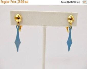 ON SALE Vintage Light Blue Enameled Dangle Earrings Item K # 501