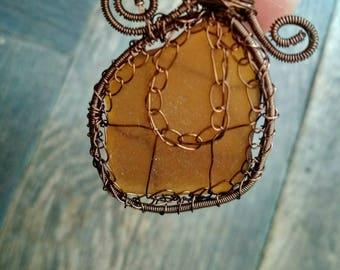 Amber sea glass pendant, girt for her, sea mermaid, crochet wire wrapped sea glass pendant, brown copper wire, sea glass jewelry pendant