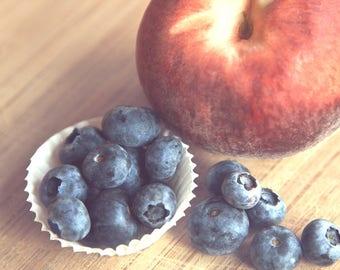 Fruit Photograph, Kitchen Decor, Summer, Peaches, Blueberries, Still Life Photo