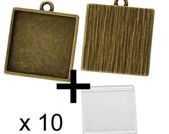 10 supports square 25mm glass cabochon bronze pendant