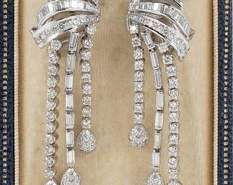 Reserved -Magnificent vintage 6.00 Ct diamond tassel earrings