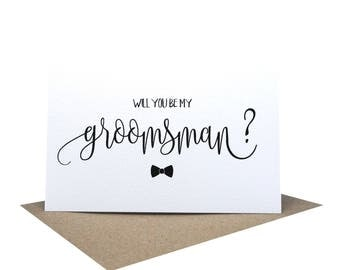 Will you be my Groomsman Card | Wedding Card | Script Font Bow Tie | WED058 | Page Boy Card | Best Man Card | Card Groomsman | Wedding Cards