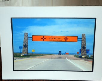 photo card, Welcome to New Mexico, New Mexico road sign photography