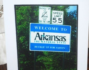 photo card, Welcome to Arkansas sign photograph