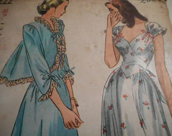 Vintage 1940's Simplicity 2222 Nightgown and Jacket Sewing Pattern Size 20 Bust 38