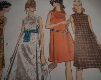 Vintage 1960's Vogue 1882 Basic Design Mod Dress Sewing Pattern Size 10 Bust 32.5