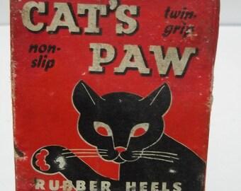 Vintage Cat's Paw Rubber Heels Original Box 1950's