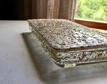 Reserved - Gold Speckled Glass Box, Vintage Cigarette Box, Cigarette Holder, Mid Century Box, Splatter Paint, Old Gold Box, Glass Storage