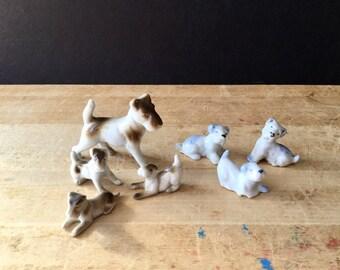Vintage Dog Figurines, Dog Family, Vintage Japan, Made in Japan, WWII Figurines, Miniature Porcelain Dogs, Bull Terrier Figurines