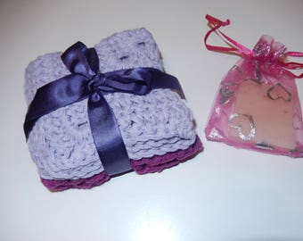 set of 2 crochet cotton wash cloths, face cloths, cotton dish cloths lilac and purple with ylang ylang homemade soap
