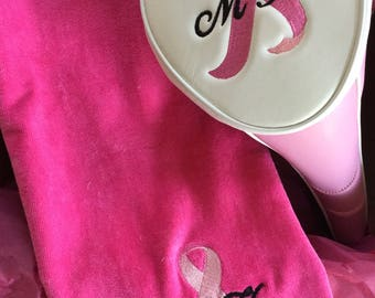Golf club breast cancer ribbon cover, Ladies Golf Head Cover, ladies Personalized Golf Head Cover, Golf accessories, Ladies gift,