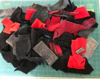 Felted Wool Scrap Bundle Destash Black/Gray/Red collection