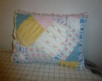 Vintage Chenille Crazy Quilt Design Pillow with Vintage Chenille Front and Back