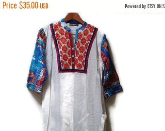 SALE Ethnic embroidered dress Indian maxi gown L XL vintage