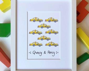 Custom New York Taxi Art - NYC Baby Gift - New York Themed Art