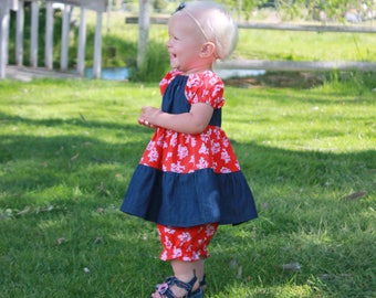 Baby Denim Outfit - Infant Floral Peasant Dress - Girls Dresses - Red Dress - Baby Dress and Bloomers - Floral Dress - Ruffle Dress