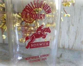 vintage collegeview dairy milk bottle from norwich university rare milk bottle advertising farmhouse decor horse equestrian