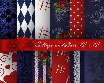 SALE Navy Digital, Red Roses, Paper Pack, Navy Blue Floral, Red and White Pattern Digital, Navy, Red, White Lace and Roses P 172
