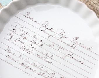 RECIPE PAN, oven safe quiche dish, recipe plate, custom handwitting, handwriting on pan, recipe display, kitchen decor, bridal shower, custo
