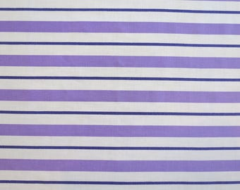 One Yard of Vintage Sheet Fabric - Purple Stripe - 1 yd