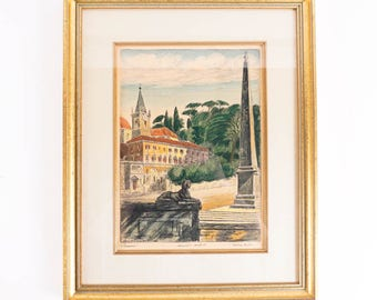 Bela Skiklay Hand colored Etching of the Piazza del Popolo in Bright Colors