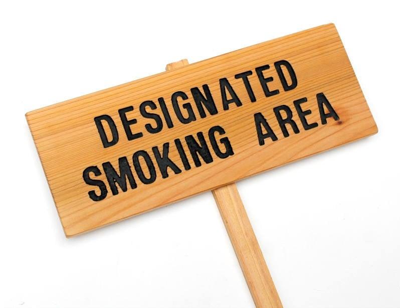designated smoking area outdoor smoking sign please no