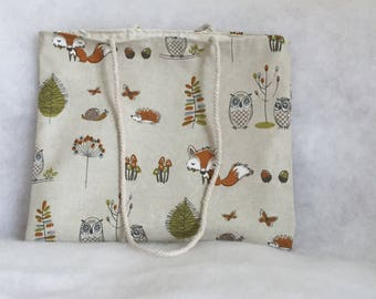 Woodland Fox Tote Bag, Owl Fabric Bag, Animal Purse, Fox Fabric Bag, Ladies Fabric Bag, Fabric Shoulder Bag, Cord Shoulder Straps