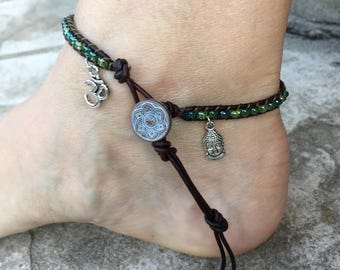 Buddha Anklet Buddha Jewelry Ohm Anklet Om Jewelry Ankle Bracelet Yoga Anklet Yoga Jewelry Zen Anklet Zen Jewelry Made in USA Cute Anklet