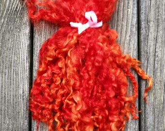 Teeswater Locks, Extra Long, Dyed, Wool, Tailspinning, 1 ounce, Doll Hair, Spin, Felt, Fleece, Deep Orange Carrot