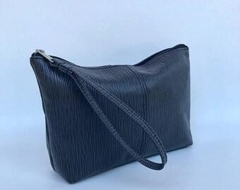 ON SALE Black Leather Wristlet Bag, Clutch Handbag, Fashion Trendy Bag, Stylish Purse, Cosmos