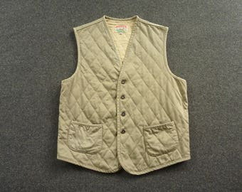 Vintage Adirondack Diamond Quilted Hunting Motorcycle Workwear Vest or Waistcoat Size S | 38 or 40 R. Made in USA.