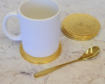 Gold Hammered Metallic Drinks Coasters