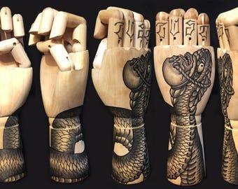 Ramon Maiden hand painted wooden hand