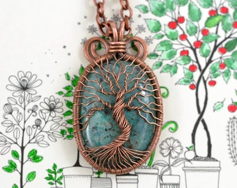 Chrysocolla Family Tree Necklace Wired Copper Pendant Wire Wrapped Tree-Of-Life Protection Amulet Healing stones Gift for her MotherDay Gift