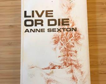 Vintage Book, Poetry, Anne Sexton, Live or Die, Vintage Poetry, Poetry from the 1960s,