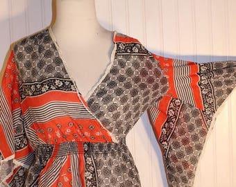 On Sale 50% OFF Ladies 70's Vintage Bat Wing Sleeve Shirt Sheer Black White and Orange Print Sz M