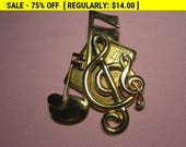 Vintage Goldtone Music, musical notes, pin brooch, vintage pin brooch, estate jewelry brooch