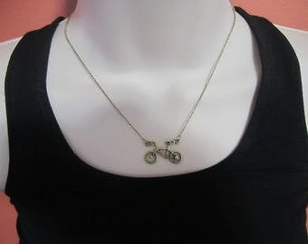 Vintage bicycle pendant necklace