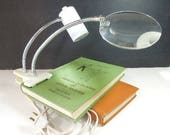 Flexible Magnifying Lamp, Clamp On Reading Light Lamp, Desk Light Lamp, Lighted Craft Lamp, Vintage Lamp