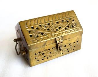 Vintage brass cricket box or potpourri box...brass box with feet...openwork brass box...boho decor.