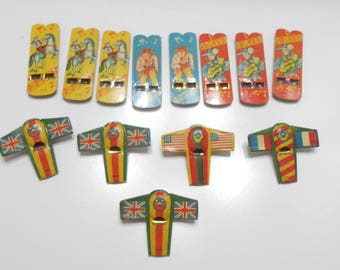 Thirteen (13) Vintage Tin Lithograph Toy Whistles (8956) Cowboys & Airplanes...Made In Japan (BP)
