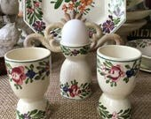 Sarreguemines France Hand Painted Pottery Eggcup and Plate Set Rusticana Pattern