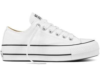 Platform Converse heel wedge White Canvas Low Top Club shoe Custom Bling w/ Swarovski Crystal Rhinestone Chuck Taylor All Star Trainer Shoes