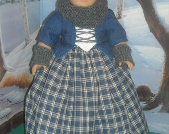 """American Girl 18"""" Doll Blue Outlander Claire Dress and Accessories"""