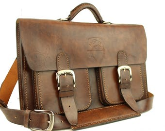 Leather Messenger Bag,  Leather Briefcase, Leather shoulder bag, Macbook Pro, 034
