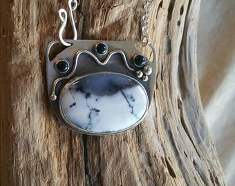 Black and white Dendritic Opal and Onyx necklace, sterling silver, dendritic opal, onyx, black and white necklace, black and white, bezel