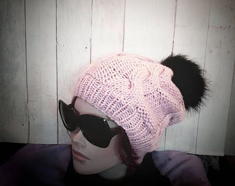 Stylish knit hat for women, dusty rose knit beanie with black pompom, fashionable  one size wool warm cable hat