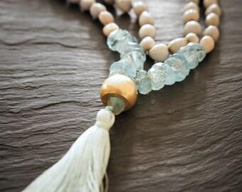 108 Vishuddha Mala,Throat Chakra,  Aquamarine, Silver Bead and Vaijayanti Seed, Yoga Necklace, Prayer Beads